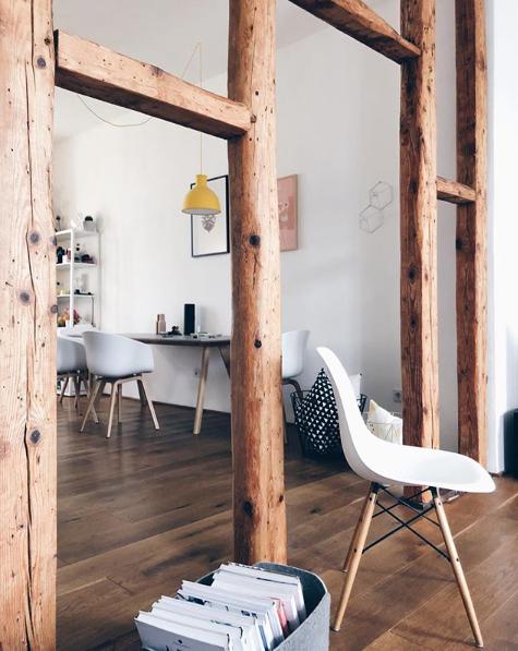Offenes Fachwerk , Altbauwohnung , Dielenboden , Skandinavisches Design