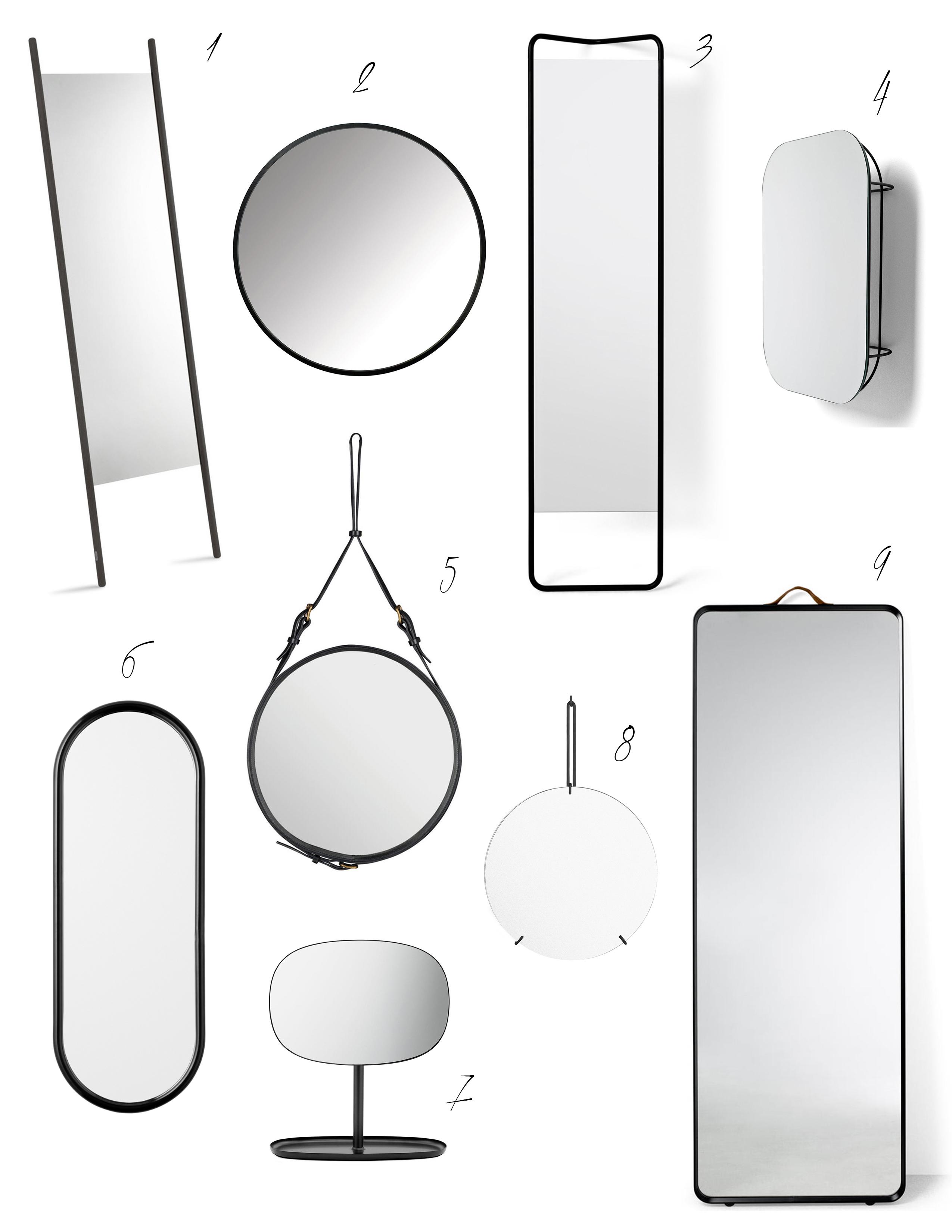 Schwarzgerahmte Spiegel